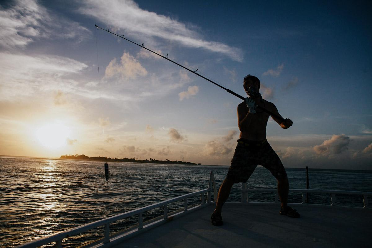 Malediven, Südmale Atoll, Surf Boattrip, Angler, Sonnenuntergang